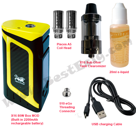 package of X16 80W Box MOD Battery with X16 tank