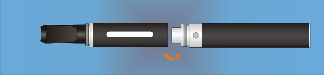 Screw and connect the eGo-W battery with the cartomizer
