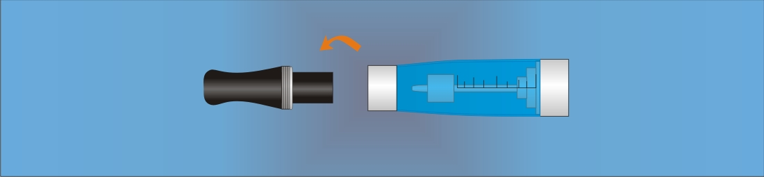 Unscrew the inhaler tip from the CE4 cartomizer