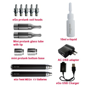 eGo mini protank Twist 1100mAh accessories