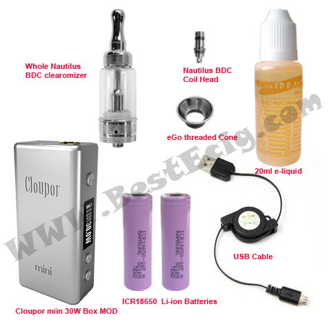 Cloupor 30W mini box Nautilus clearomizer e-cig