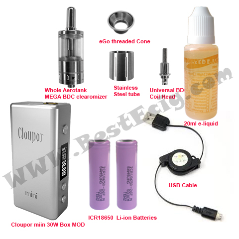 Cloupor 30W mini box with Aerotank MEGA clearomizer e-cig