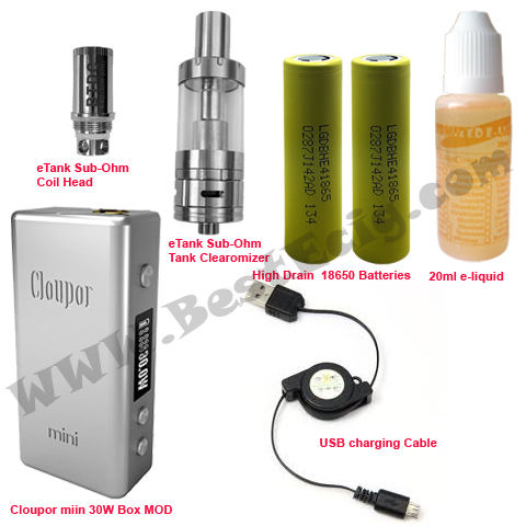 Cloupor Mini 30W Box with eTank Sub-Ohm tank Clearomizer e-cig