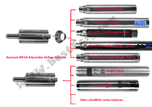 what battery can be used on the Aerotank MEGA clearomizer