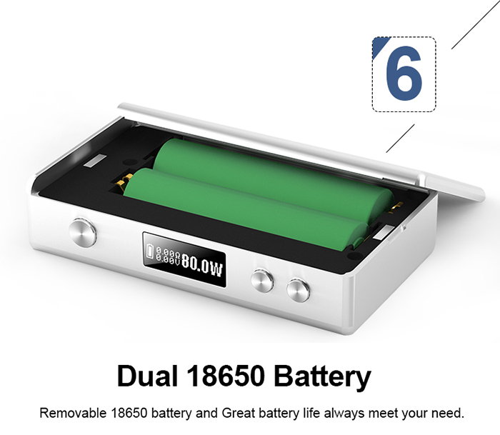 Dual 18650 battery for cloupor GT 80w box mod