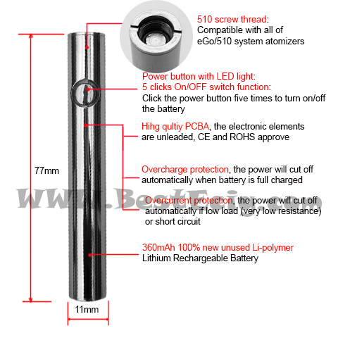 e-smart e-cig battery function and feature