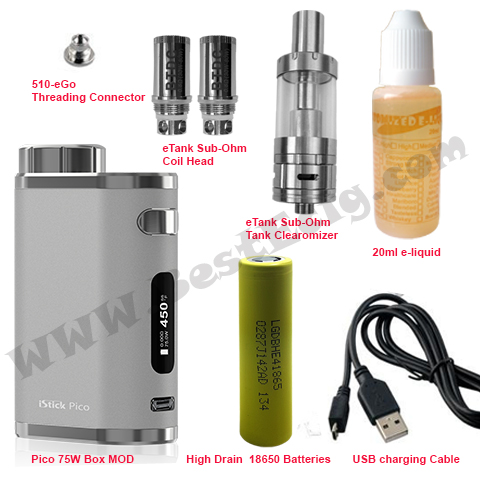Items of pico 75W with eTank e-cig starter kit