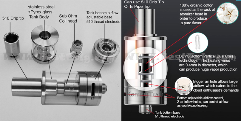 structure of K1000 Plus tank clearomizer atomizer