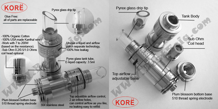 KORE Sub-Ohm tank clearomizer feature