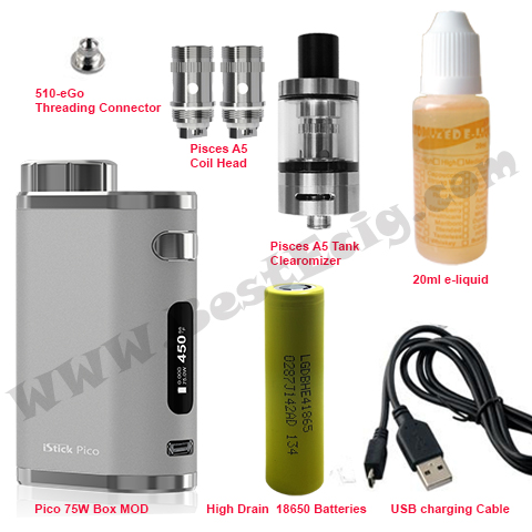 Items of pico 75W with Pisces A5 tank vape e-cig starter kit