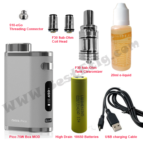 Pico 75W e-cig starter kit with F30 tank accessories
