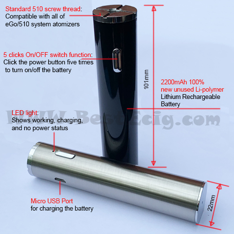 Feature of diameter 22mm TVR 30W Cylinder MOD Battery