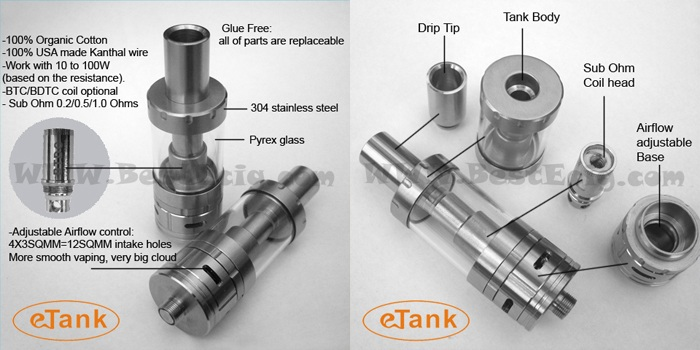 eTank sub ohm tank clearomizer function