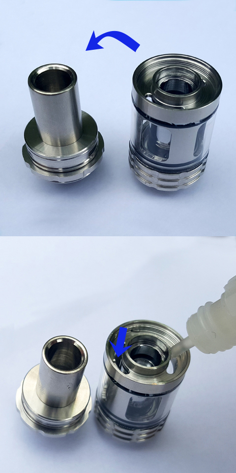 how to fill e-liquid F30 e-pipe Sub-Ohm tank coil head